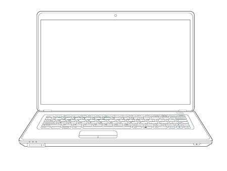 laptop computer notebook outline Stock Vector - 19624847