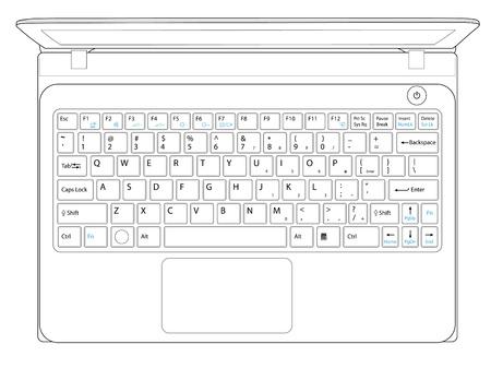 laptop computer notebook outline Stock Vector - 19624825