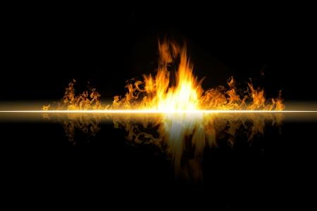 바닥에 불꽃 화재 굽기