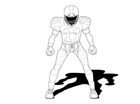 football player standing on white background  Vector