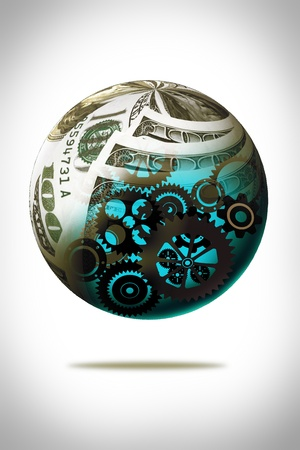 Money together in sphere shape cover gear Machine inside,business concept