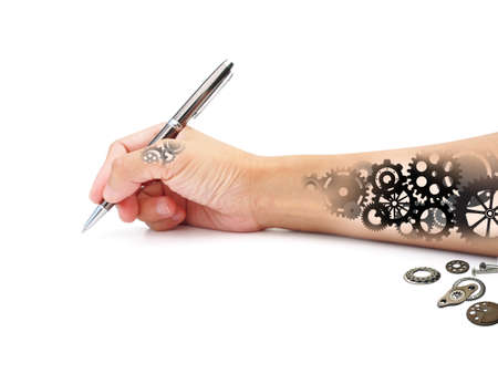 Business concept. businessman hand made of Gears machine with pen working  on white background Stock Photo - 19624889