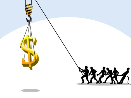 men pulling rope to lift dollar symbol,teamwork, business concept