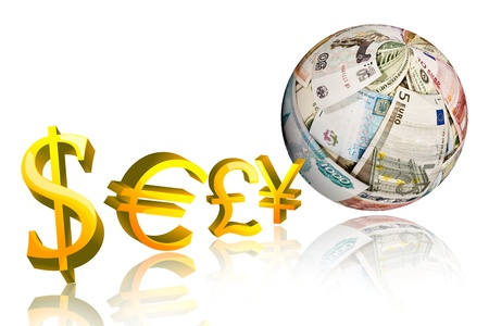 currency symbol: dollar,pound,euro,yen, with sphere shape money on white background Stock Photo