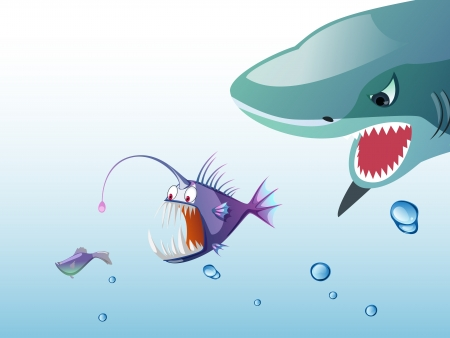 bigger shark eatting small fish Vector