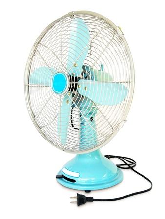 light blue vintage fan on white background Reklamní fotografie