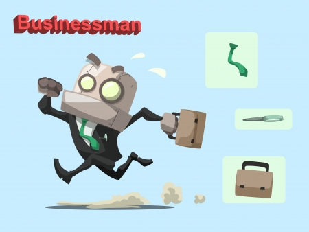 Cartoon vector illustration of businessman robot with pen, briefcase and necktie Stock Vector - 20643540