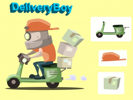 Cartoon vector illustration of delivery robot with motorbike, cap and box Illustration