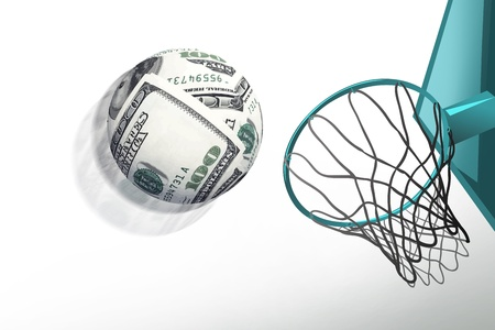 money sphere shoot in basketball hoop,make score,business concept