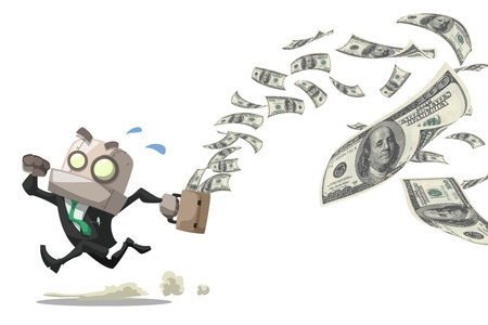 businessman robot running while his bag leak money dollar bills in the air,business concept