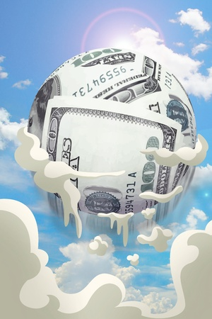 money ball fly up pass cloud  on sky, currency concept Stock Photo - 20643533