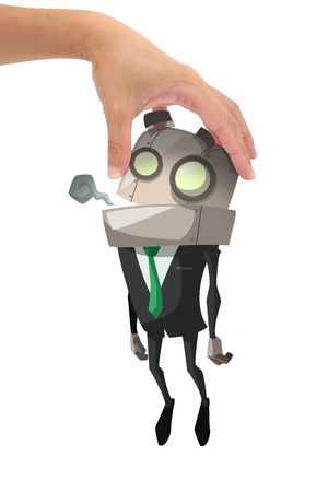 under control: Exhausted robot businessman hold by hand, under control, business concept