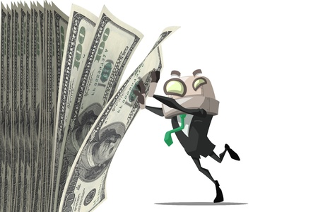 Happy robot  businessman man enjoying the stack of money Stock Photo - 20879643