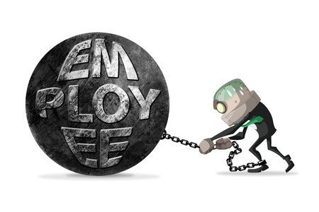 overpowering: businessman  try to escape from the chain with employee word on it.Business concept Stock Photo