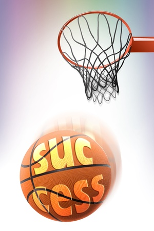 basketball with success word shoot in  hoop,make score,business concept Stock Photo