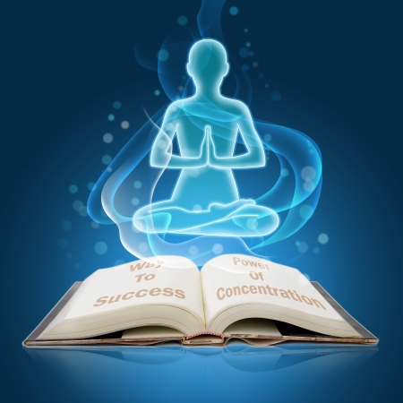 open book with growth light of sitting man in concentration mode
