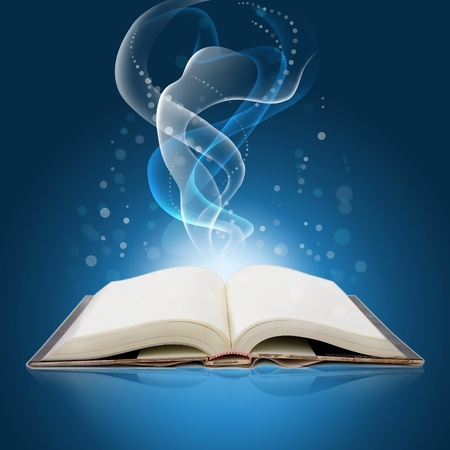 glowing  open  book with bright lights and colors photo