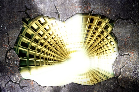 tunnel di luce: grunge muro rotto con tunnel di luce all'interno