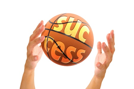 it business: hand holding basketball with text success on it, business concept