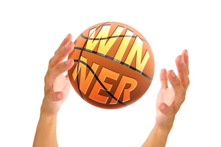 it business: hand holding basketball with text winner on it, business concept Stock Photo