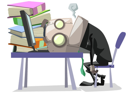 exhaustive: Tired businessman lay down on table with computer and pile of folder,business concept