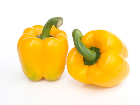 Fresh yellow pepper  isolated on white Stock Photo