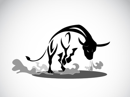 image graphic style of angry bull isolated on white background Stock Photo
