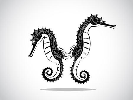 image graphic style of seahorse isolated on white