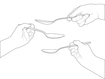 Line Art Hand : Drawing of hand set on grid paper use for elements design stock