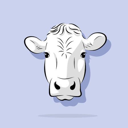 afbeelding grafische stijl van de koe op een witte achtergrond Stockfoto