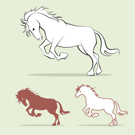 graphic outline image of horse, illustration image Stock Photo