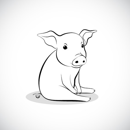 image graphic style of pig  isolated on white background