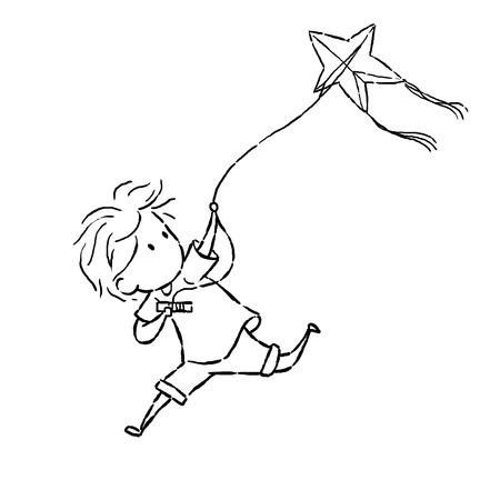 kiting: image drawing cartoon style of kid kiting