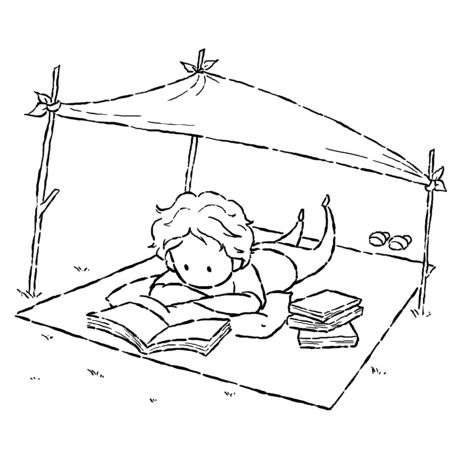 lay down: image drawing cartoon style of kid reading book in the park