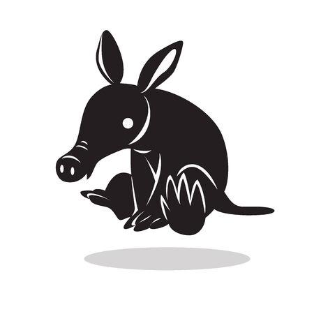 aardvark: image graphic style of aardvark  isolated on white background