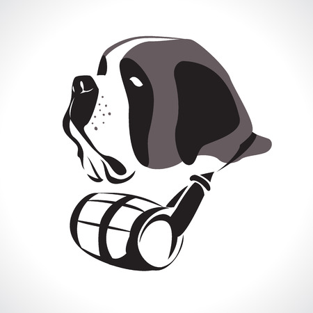 st bernard: St. Bernard rescue Dog. Vector Illustration