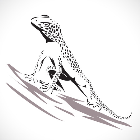 lagartija: Imagen del estilo gr�fico del lagarto camale�n aislado en fondo blanco