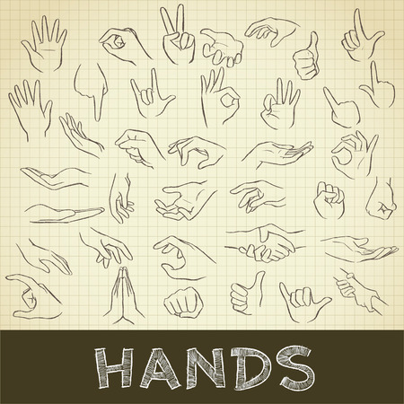 grid paper: drawing of hand set on grid paper use for elements  design. Stock Photo