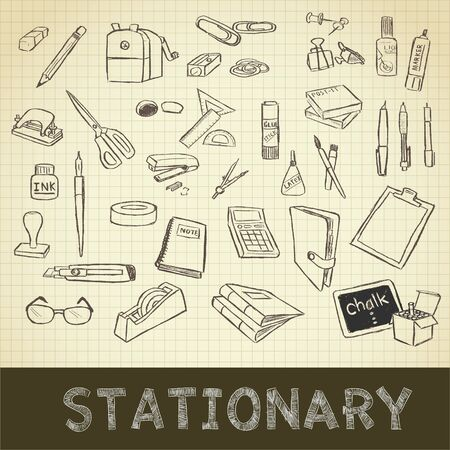 pen on paper: drawing of stationary set on grid paper use for elements  design. Stock Photo