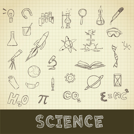 grid paper: drawing of science stuff set on grid paper use for elements  design. Stock Photo