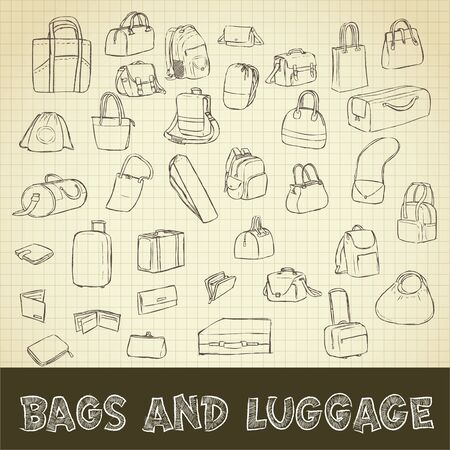 grid paper: drawing of bags and luggage set on grid paper use for elements  design. Stock Photo