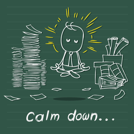 calm down: Vector cartoon drawing of businessman calm down over tons of work use for business concept Archivio Fotografico