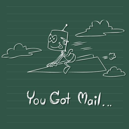 got: Vector cartoon drawing of man getting mail use for business concept Stock Photo