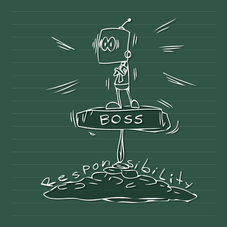unstable: Vector cartoon drawing of businessman big boss stand on unstable base use for business concept