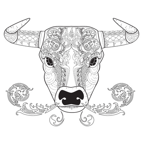 bullfight: image graphic style of bull for coloring isolated on white background
