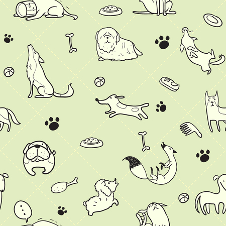 sew: Seamless pattern of dogs use as background, wallpaper, card and wrap paper