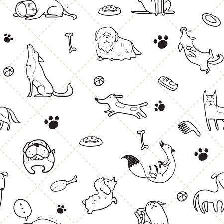 cute dog: Seamless pattern of dogs use as background, wallpaper, card and wrap paper