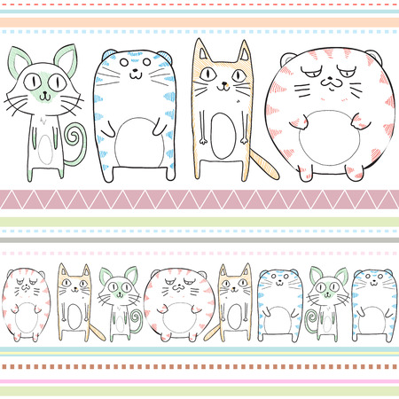 seams: Seamless pattern of cats use as background, wallpaper, card and wrap paper Stock Photo