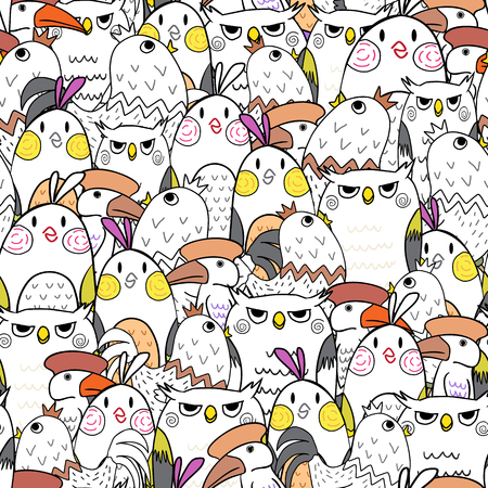hornbill: Seamless pattern of birds in color use as background, wallpaper, card and wrap paper