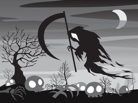 angel of death: Halloween illustration Angel of Death silhouette with moon night scene